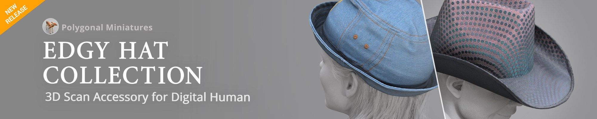 Edgy Hat Collection - 3D Scan Accessory for Digital Human
