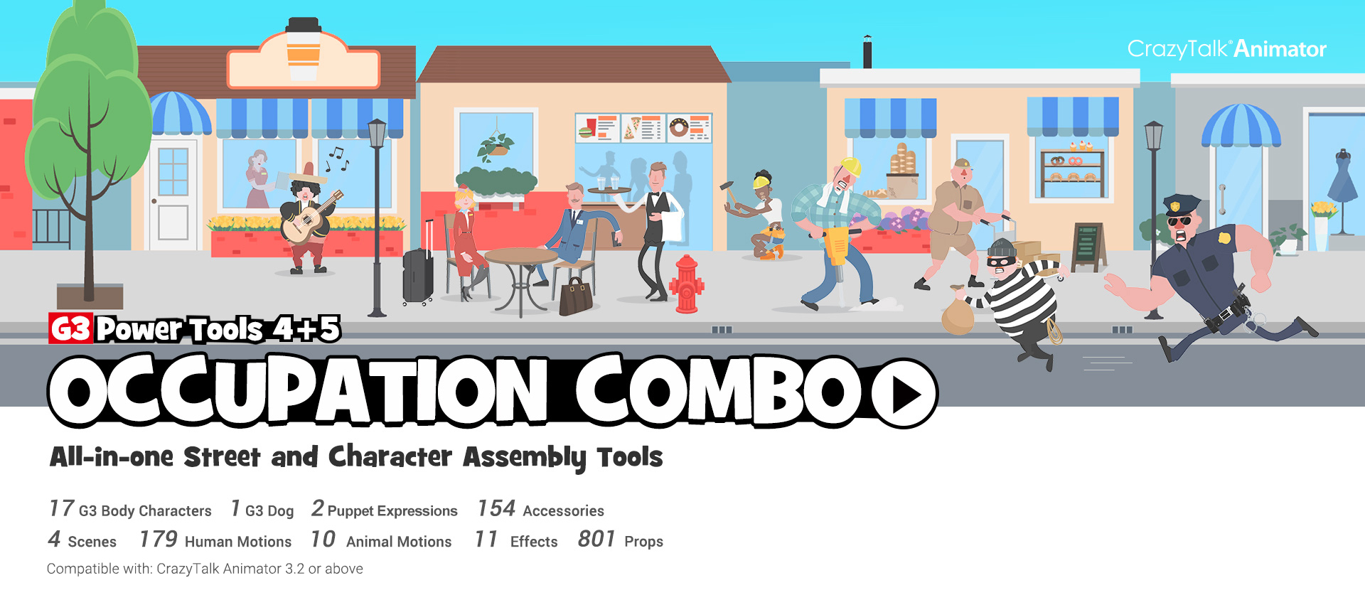 CrazyTalk Animator 3 content - G3 Power Tools 4+5 Occupation
