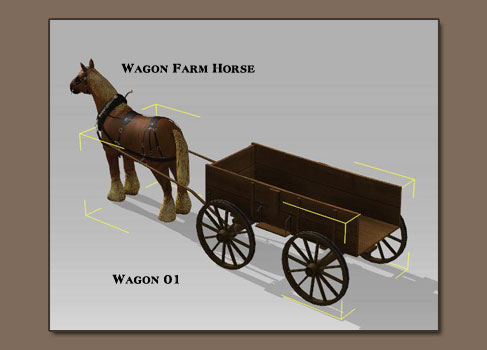 how to draw a wagon with a horse