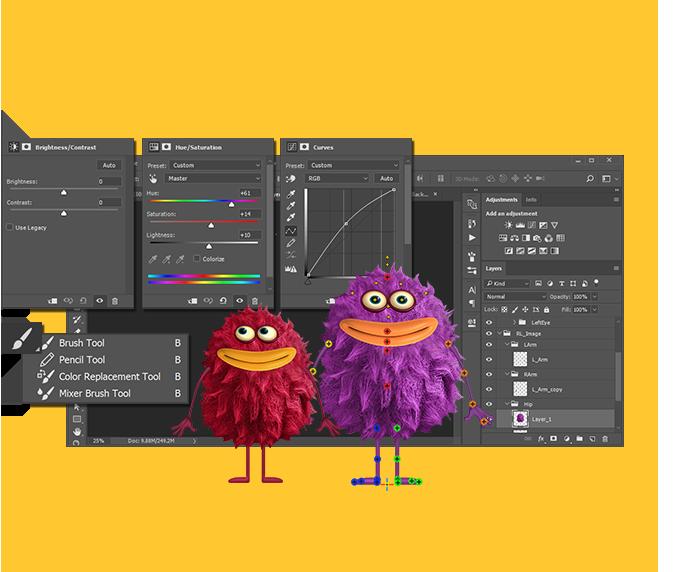 Character Design Editor : Photoshop animation and photo crazytalk animator